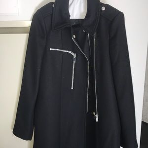 Zara Black Peacoat with Zippers